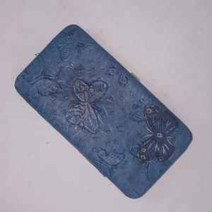 Claire's Blue Embossed Butterfly Clutch Wallet